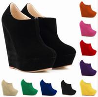 botas de gamuza micro al por mayor-Otoño Mujeres de invierno Elegent Plataforma Tacones altos Zapatos de gamuza Botas de tobillo Cuñas Botas Femininas Tamaño: 35-42 # 391-5