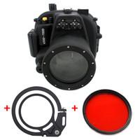 filtros de lente de 55mm al por mayor-Carcasa estanca sumergible para cámara con carcasa sumergible para Canon 650D 700D con lente 18-55mm + 67mm Filtro rojo + Adaptador para lente húmeda