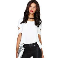 espalda abierta camisas de talla grande al por mayor-2018 mujeres de manga corta gasa camisas verano negro espalda abierta Sexy Tops color sólido más tamaño blusa de cuello en O libre envío