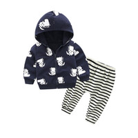 Wholesale wholesal clothing online - Wholesal New Fashion Children Clothing Baby Boy Autumn Winter Warm Hoodie Set Baby Girls Two Piece Zip Jacket Clothing Set