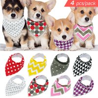 Wholesale bandana collar large online - 4pcs Adjustable Puppy Cat Bandana Collars Pet Scarf Neckerchief Collar Grooming Accessories For Small Medium Large Dog Chihuahua