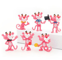 Wholesale pink panther toys online - Pink Panther Movie Cute Doll Action Figures Toys cartoon styles set model Desktop Cake decoration Party Favor GGA634 Sets