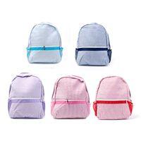 Wholesale navy gift bag - 29*10*38cm Seersucker Backpack Wholesale Blanks Navy Pink Striped School Bag in 5 Colors Free shipping School Gift Book Bag DOM106031
