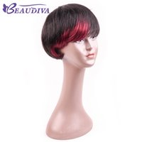 Wholesale ombre dark red wig resale online - Beaudiva Dark Red Wine Burgundy human Hair Wigs Side Bang Wig Short Human Hair Brazilian short pixie human Hair Wigs Natural black wigs