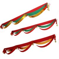 Wholesale Flag Arts - Creative Hanging Wave Flag With Gold Bells Design Window Art Banner For Christmas New Year Decoration Flags High Quality 18nm4 B