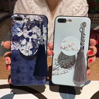 синие белые фарфоровые раковины оптовых-Чехол для iPhone 6S 7 8Plus X ретро живопись мобильный Shell сине-белый фарфор Pattern сотовый телефон чехол