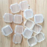 joyas de anzuelo al por mayor-Transparente de plástico caja cuadrada pequeña Mini Fishhook tapones para los oídos cajas de almacenamiento de cuentas de maquillaje caja de la joyería de la venta caliente 0 12hj gg