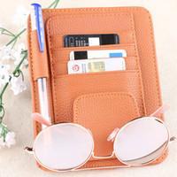 Wholesale visor storage resale online - 1PC New Car Sun Visor Point Pocket Organizer Pouch Bag Pocket Card Storage Holder