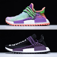 Wholesale Real Families - Pharrell's Human Race Trail Runner Shoes for Sale, Real Boost Hu Holi Blank Canvas PW Sneakers Birthday,Burgundy Friends and Family