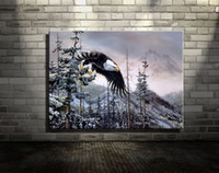 Wholesale Canvas Oil Painting Landscape Forest - Original New Home Decor Art HD Print Animal Oil Painting Wall Decor Art on Canvas, XM81,Eagle alpine forest   Unframed