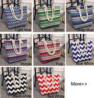 Wholesale Stripe Canvas Tote Beach Bags - Girl Casual Summer Canvas Shopper Shoulder Bag Striped Beach Bags Large Capacity Tote Women Ladies Casual Shopping Handbag