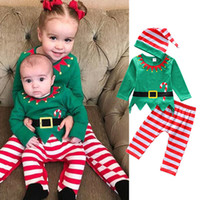 Wholesale elf baby clothes for sale - Group buy Baby Christmas elf outfits children girls boys Xmas stripe hat top pants set Spring Autumn Boutique kids Clothing Sets C5457