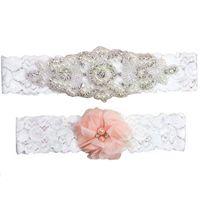 conjunto de liga blanca al por mayor-Cristales completos Bridal Garters para la novia del cordón de la boda Garters White Ivory Cheap Vintage Boda Leg Liga del conjunto