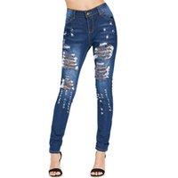 ingrosso chiusura lampo alti in jeans-Jeans a vita bassa con risvolto a vita alta Zipper Fly Donna Pantaloni a vita bassa con risvolto a vita alta Denim Jeans sexy Denim