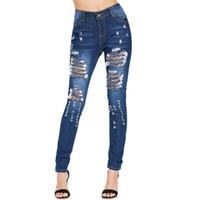 hoch taillierter jeans-reißverschluss großhandel-Zipper Fly hohe Taille Distressed Frauen Bleistift Jeans Frau dünne hohe Taille Loch Zerrissene Hosen Sexy Denim Calf Länge Jeans