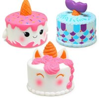 Wholesale cake design wholesale - Jumbo Squishy Cute Unicorn Mermaid Whale Cake Squishies Slow Rising Cream Scented Squeeze Decompression toy 5 design KKA4782