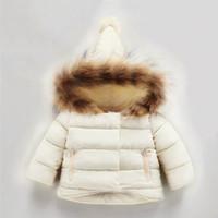 manteau de chien hiver achat en gros de-racoon dog cuir fourrure collier 1-7 ans garçons filles hiver manteau à capuchon enfants bas parkas pour enfants vêtements d'hiver chaud vente chaude