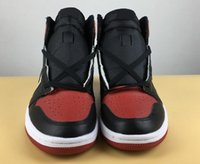 Wholesale height c - Hot Sale 1 BRED High OG Banned Black Red Toe White Mens Basketball Shoes 1s Fashion Trainers Women Sport Sneaker With Shoes Box