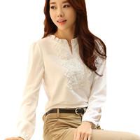 blusas de oficina xxl al por mayor-De Buena Calidad Primavera Otoño Blusa Blanca Camisa de Gasa de Las Mujeres de Encaje Crochet Perla Rebordear Manga Larga Superior Oficina Señora S-XXL T5528