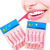 ingrosso il dente dei denti sceglie il filo-Di alta qualità di Plastica Stuzzicadistole Floss Picks Clean Denti Stuzzicadenti Stick Flossers Stuzzicadenti Floss 25 pz / imballaggio T2I098