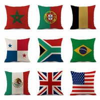 Wholesale pad decor - Pillow Case 45*45cm 2018 Russia World Cup Home Decor National Flag Throw Cushion Cover Soccer Pillow Covers Outdoor Pads OOA5003