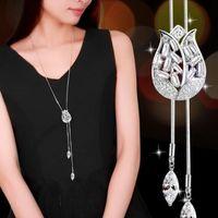 metall stieg blumen großhandel-Neue Strickjacke-Ketten-Rosen-Blumen-lange Halsketten-Strickjacke-Ketten-Art- und Weisemetallketten-Kristallblumen-Anhänger-Halsketten