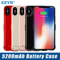 Wholesale iphone rechargeable battery case - ZZYD For iPhone X 5200 mAh Battery Case Portable Phone Backup Rechargeable Extended Charger Case With Retail Package