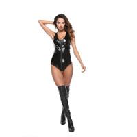 ingrosso vestiti caldi del lattice-Donne sexy per adulti Zentai Catsuit Hot Sexy Costume senza maniche in pelle Lingerie Latex Body Suit WTB2046