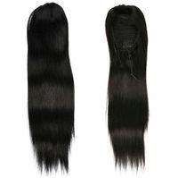 Wholesale long fake ponytail online - Long silky straight virgin brazilian human hair drawstring fake ponytail hairpiece for black women inch g g b