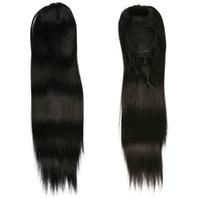 longo, preto, reto, ponytails venda por atacado-Longo de seda em linha reta virgem cabelo humano brasileiro cordão rabo de cavalo falso peruca para mulheres negras 10-22 polegada 100g-160g 1b