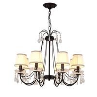 винтажная столовая люстра оптовых-Moder Vintage E14 Nordic черный утюг Led люстра светильники для чердак бар лестница гостиная спальня столовая лампа