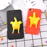 couvertures drôles d'iphone achat en gros de-Nouveau drôle de bande dessinée 3D animal cas de téléphone doux pour iphone X 7 6 Plus TPU Vent jouet Lay oeuf poule poulet Couverture