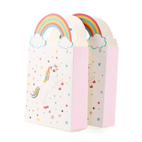 Wholesale kids party paper bags - 50PCS Cute Unicorn Pattern Party Rainbow Paper Bags for Gifts Kids Baby Shower Birthday Gift Candy Bag Wedding Party Decor