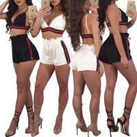 calça preta branca venda por atacado-Verão Sexy Com Decote Em V Top Com Calça Listrada Quente Duas Peças Fatos Preto Cor Branca Mulheres Treino