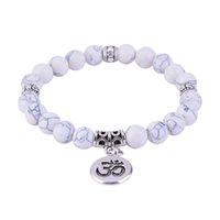 ingrosso buddha di vita-Bracciale perline turchesi bianchi Howlite Bracciale vita bianca albero Lotus OM Bracciali uomo donna Yoga Mala Bead Meditazione gioielli