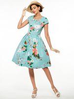 vestido estampado audrey hepburn venda por atacado-Mulheres de verão vestidos de luz azul audrey hepburn 50 s impressão flor do vintage robe feminino vestido de baile partido retro dress vestidos plus size s-4xl