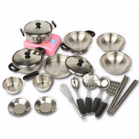 Wholesale pretend play kids - Stainless Steel Pots Pans Cookware Miniature Toy Pretend Play Gift For Kid Children New Year's Toys Educational Toys