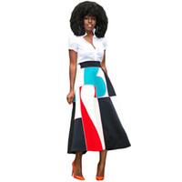 Wholesale Color Block Maxi - Dreszdi New Vintage Color Block Women Maxi Skirt High Waist A Line Long Skirt Fashion Floral Printed Ladies Summer Skirts