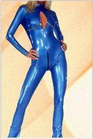 mulheres com trajes de couro sexy venda por atacado-Wetlook Brilhante Couro Azul Catsuit Traje Crotchless Aberto Busto Faux Leather Jumpsuit Sexy Bodysuit Látex Mulheres Desgaste Da Boate