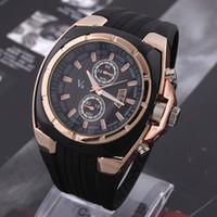 grandes relógios redondos para homens venda por atacado-Hot V6 Relógio Big Rodada Dial Preto Silicone Quartz Analógico Design Men Sport Watch masculino esportes relógio de Pulso 3 cores mascuion relojes