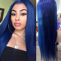 Wholesale Dark Blue Hair Color - blue colored full lace wigs human hair glueless wig blue lace front wig blue color for black women