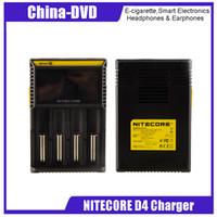 e zigarettenbatterieaufladung großhandel-Authentische Nitecore D4 Ladegerät LCD Display Universal Nitecore Ladegeräte Ladekabel VS UM10 Nitecore D2 D4 E-Zigaretten Ladegeräte