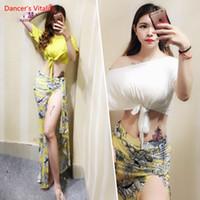 ingrosso abiti da ballo di pancia-Per le donne Belly Dance Abbigliamento Maglia con maniche corte Top + Split Skirt 2 pezzi. Costume da danza del ventre per ragazze