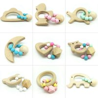 Wholesale wooden shaped beads - Creative Wooden Baby Molars Stick Cute Animal Shaped Organic Silicone Beads Bracelet Candy Color Jewelry Teething Toy Accessories 7 5dh YY