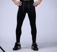 calças apertadas para venda por atacado-Calças de compressão dos homens esportes correndo calças justas de basquete calças de ginástica fisiculturistas corredores leggings calças skinny comprimento total frete grátis