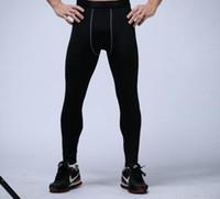 pantalones ajustados de baloncesto al por mayor-Pantalones de compresión para hombre deportes medias de baloncesto pantalones de gimnasia culturismo joggers leggings flacos pantalones de longitud completa envío gratis