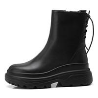 botas negras de encaje hasta las niñas al por mayor-Womens Girls Fashion Black Lace-Up Zip Media pantorrilla Botas Botines FS-B843 EE. UU. Reino Unido zapatos Tamaño personalizado por Favoshoes