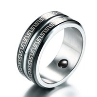 Wholesale oriental jewelry - NEW Fashion Ring Great Wall Pattern 316L Stainless Steel Smooth silver Color Rings for Men Blackstone Oriental Totem Jewelry