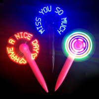 Wholesale mini fan message - LED Flashing Message pen Fan,Mini Light up LED Luminous Fan Pen,keep cool this summer Novelty Gift 2018 new.