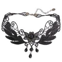 gothic schwarze spitze perlen choker großhandel-Gothic Punk Style Gem Dekoration Frauen Black Lace Perlen Choker Kragen Halskette Chocker Schmuck